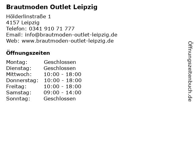 ᐅ Offnungszeiten Brautmoden Outlet Leipzig Holderlinstrasse 1 In