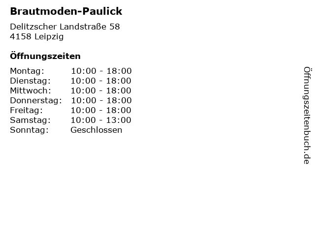 ᐅ Offnungszeiten Brautmoden Paulick Delitzscher Landstrasse 58