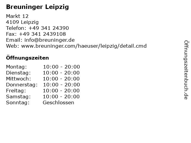 Breuninger Leipzig in Leipzig: Adresse und Öffnungszeiten