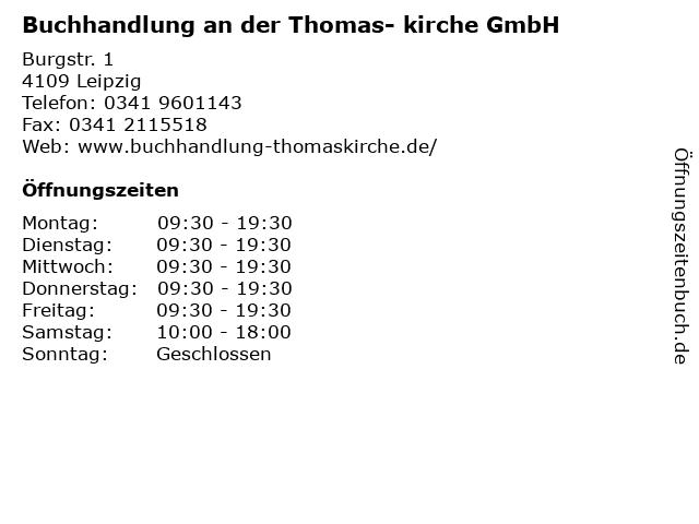 Buchhandlung an der Thomas- kirche GmbH in Leipzig: Adresse und Öffnungszeiten