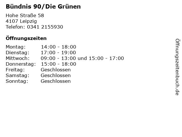 Bündnis 90/Die Grünen in Leipzig: Adresse und Öffnungszeiten