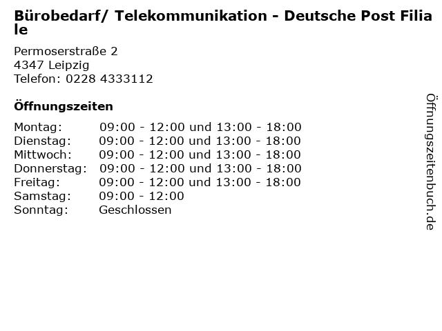 ᐅ öffnungszeiten Bürobedarf Telekommunikation Deutsche Post