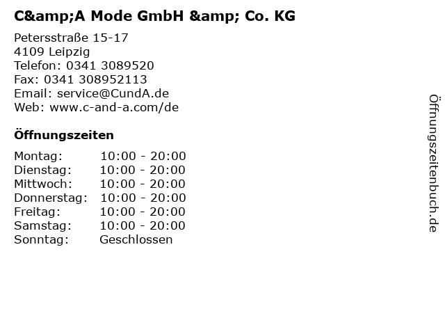 C&A Mode GmbH & Co. KG in Leipzig: Adresse und Öffnungszeiten