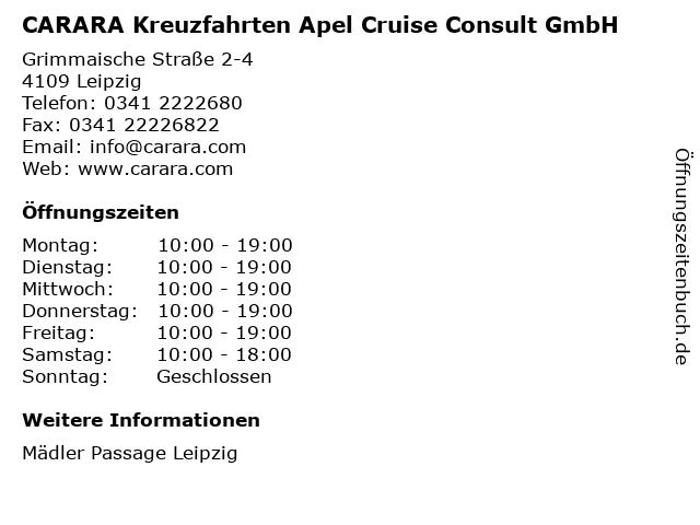 CARARA Kreuzfahrten Apel Cruise Consult GmbH in Leipzig: Adresse und Öffnungszeiten
