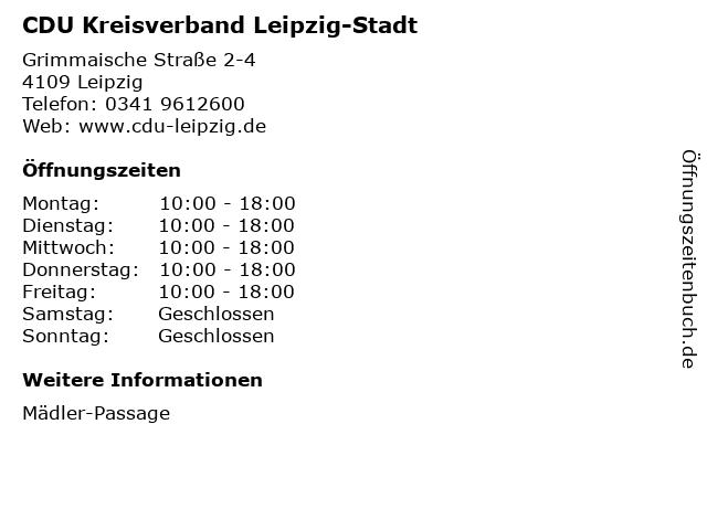 CDU Kreisverband Leipzig-Stadt in Leipzig: Adresse und Öffnungszeiten