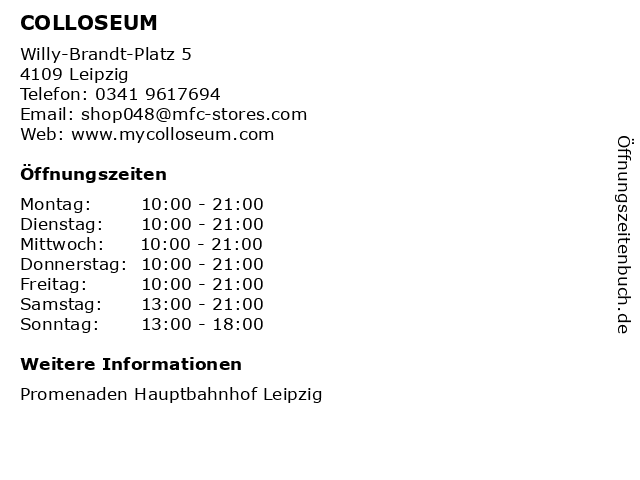 COLLOSEUM in Leipzig: Adresse und Öffnungszeiten