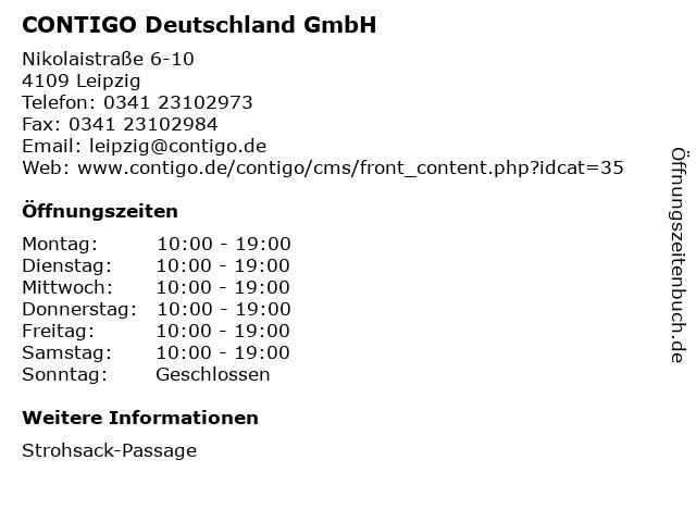 CONTIGO Deutschland GmbH in Leipzig: Adresse und Öffnungszeiten