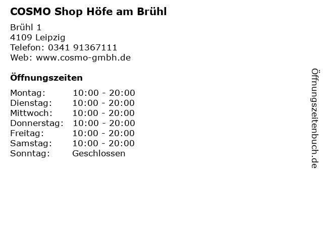 COSMO Shop Höfe am Brühl in Leipzig: Adresse und Öffnungszeiten