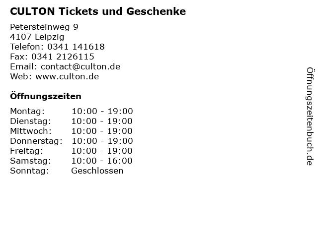 CULTON Tickets und Geschenke in Leipzig: Adresse und Öffnungszeiten
