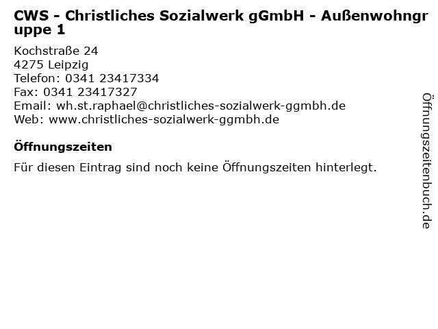 CWS - Christliches Sozialwerk gGmbH - Außenwohngruppe 1 in Leipzig: Adresse und Öffnungszeiten