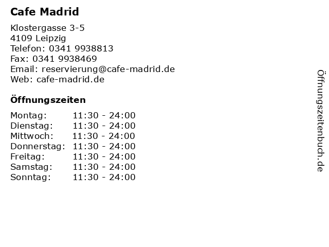 Cafe Madrid in Leipzig: Adresse und Öffnungszeiten