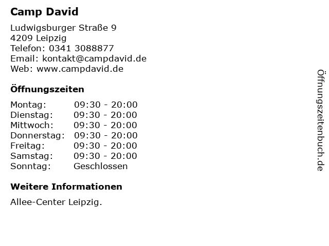 Camp David in Leipzig: Adresse und Öffnungszeiten