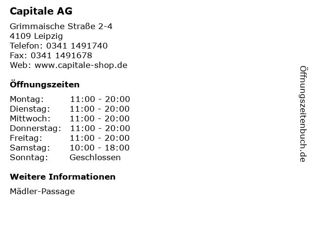 Capitale AG in Leipzig: Adresse und Öffnungszeiten