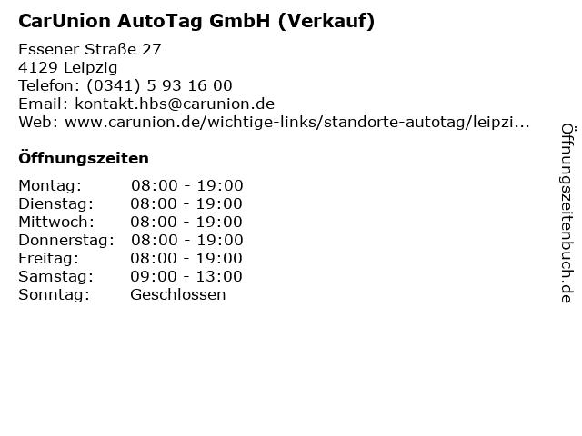 CarUnion AutoTag GmbH (Verkauf) in Leipzig: Adresse und Öffnungszeiten