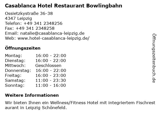 ᐅ Offnungszeiten Casablanca Hotel Restaurant Bowlingbahn