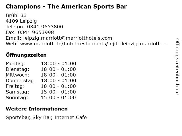 Champions - The American Sports Bar in Leipzig: Adresse und Öffnungszeiten