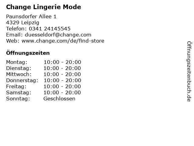 Change Lingerie Mode in Leipzig: Adresse und Öffnungszeiten