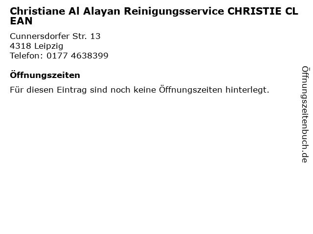 Christiane Al Alayan Reinigungsservice CHRISTIE CLEAN in Leipzig: Adresse und Öffnungszeiten