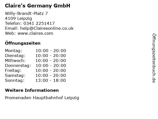 Claire's Germany GmbH in Leipzig: Adresse und Öffnungszeiten