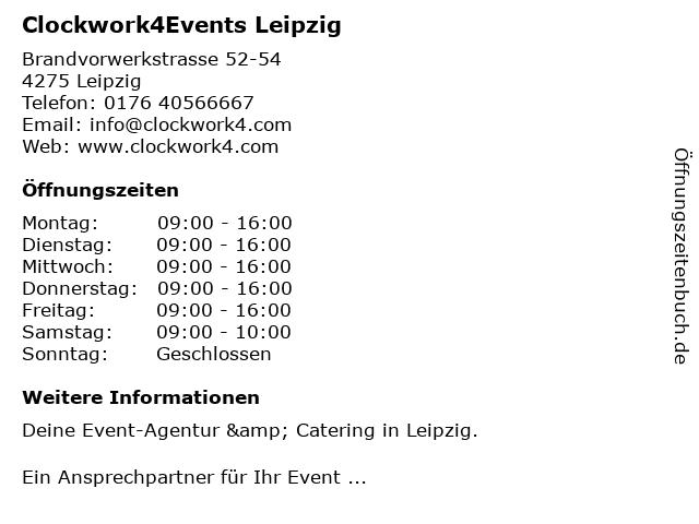 Clockwork4Events Leipzig in Leipzig: Adresse und Öffnungszeiten