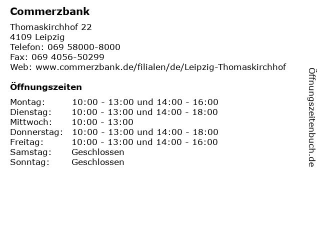 Commerzbank Leipzig-Thomaskirchhof in Leipzig: Adresse und Öffnungszeiten