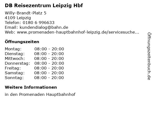 DB Reisezentrum Leipzig Hbf in Leipzig: Adresse und Öffnungszeiten