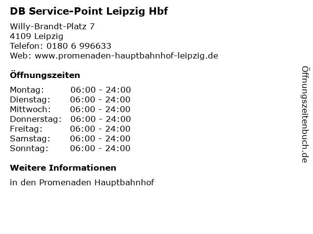 DB Service-Point Leipzig Hbf in Leipzig: Adresse und Öffnungszeiten