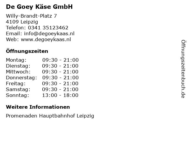 De Goey Käse GmbH in Leipzig: Adresse und Öffnungszeiten