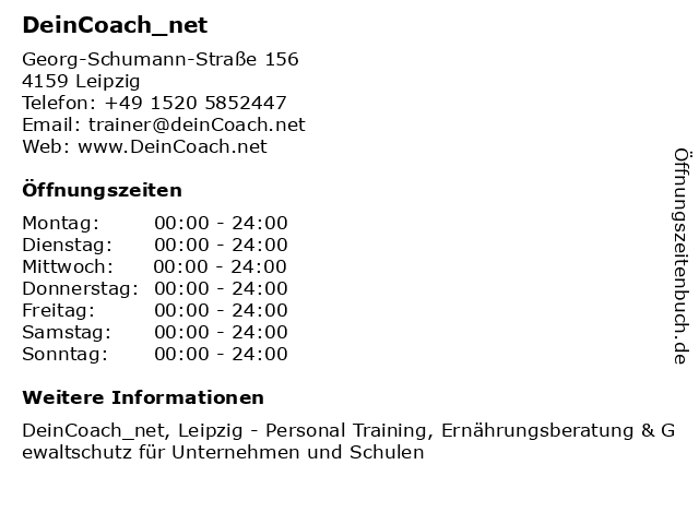 DeinCoach_net in Leipzig: Adresse und Öffnungszeiten