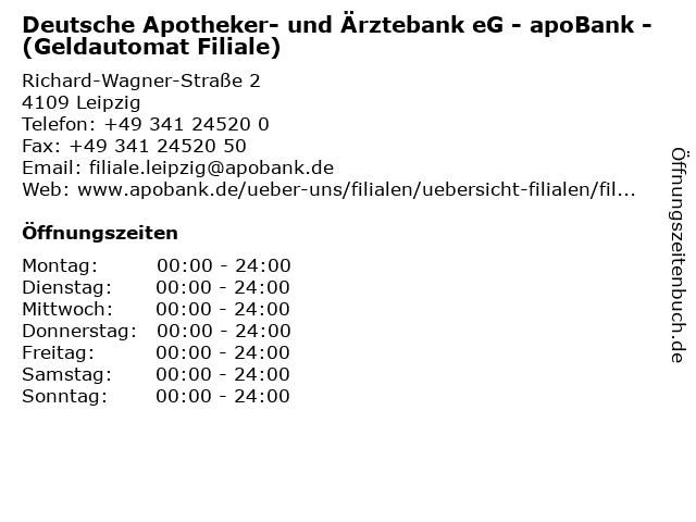 Deutsche Apotheker- und Ärztebank eG - apoBank - (Geldautomat Filiale) in Leipzig: Adresse und Öffnungszeiten
