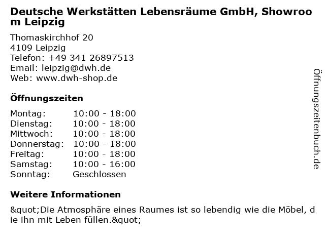 Deutsche Werkstätten Lebensräume GmbH, Showroom Leipzig in Leipzig: Adresse und Öffnungszeiten