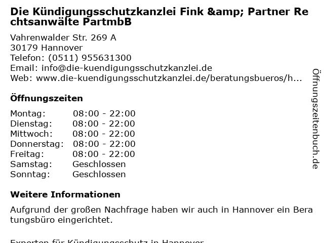 Die Kündigungsschutzkanzlei Fink & Partner in Leipzig: Adresse und Öffnungszeiten
