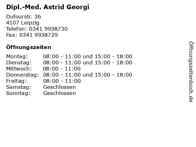 Dipl.-Med. Astrid Georgi in Leipzig: Adresse und Öffnungszeiten