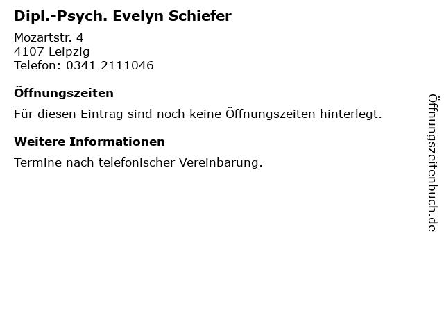 Dipl.-Psych. Evelyn Schiefer in Leipzig: Adresse und Öffnungszeiten