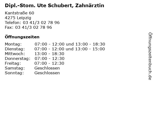 Dipl.-Stom. Ute Schubert, Zahnärztin in Leipzig: Adresse und Öffnungszeiten