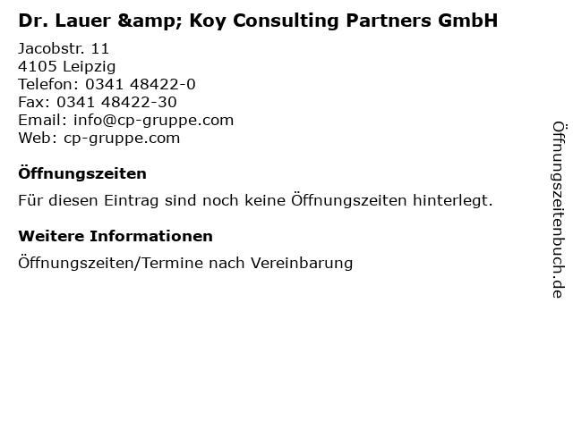 Dr. Lauer & Koy Consulting Partners GmbH in Leipzig: Adresse und Öffnungszeiten