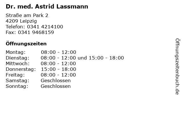 Dr. med. Astrid Lassmann in Leipzig: Adresse und Öffnungszeiten