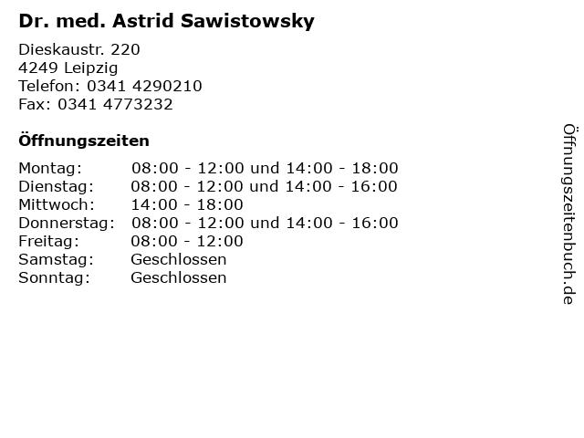 Dr. med. Astrid Sawistowsky in Leipzig: Adresse und Öffnungszeiten