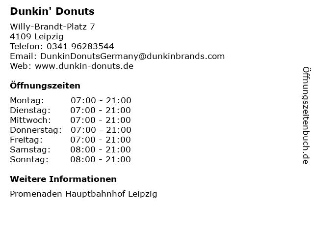 Dunkin' Donuts in Leipzig: Adresse und Öffnungszeiten