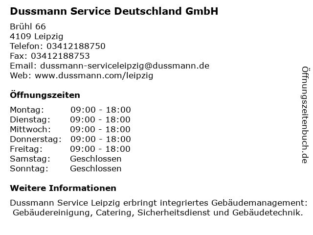 Dussmann Service Deutschland GmbH in Leipzig: Adresse und Öffnungszeiten