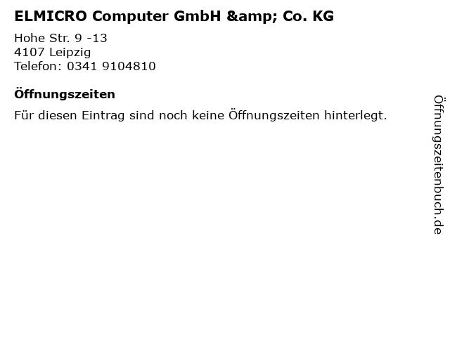 ELMICRO Computer GmbH & Co. KG in Leipzig: Adresse und Öffnungszeiten