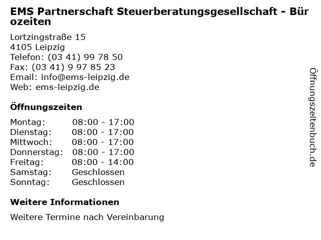 EMS Partnerschaft Steuerberatungsgesellschaft - Bürozeiten in Leipzig: Adresse und Öffnungszeiten