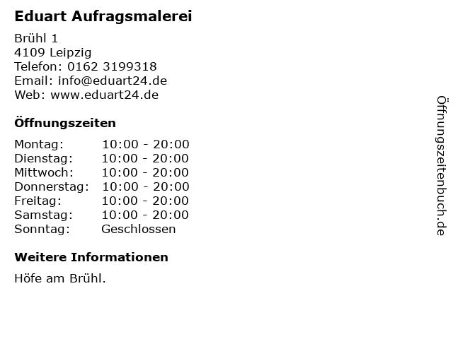 Eduart Aufragsmalerei in Leipzig: Adresse und Öffnungszeiten