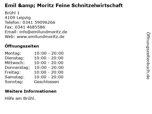 Emil & Moritz Feine Schnitzelwirtschaft in Leipzig: Adresse und Öffnungszeiten