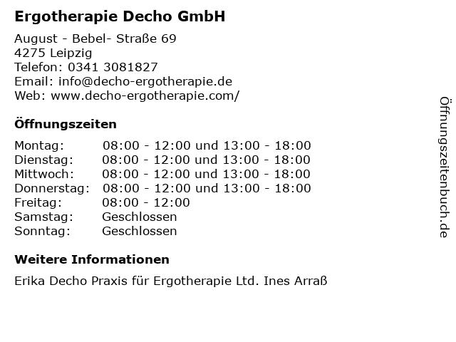 Ergotherapie Decho GmbH in Leipzig: Adresse und Öffnungszeiten