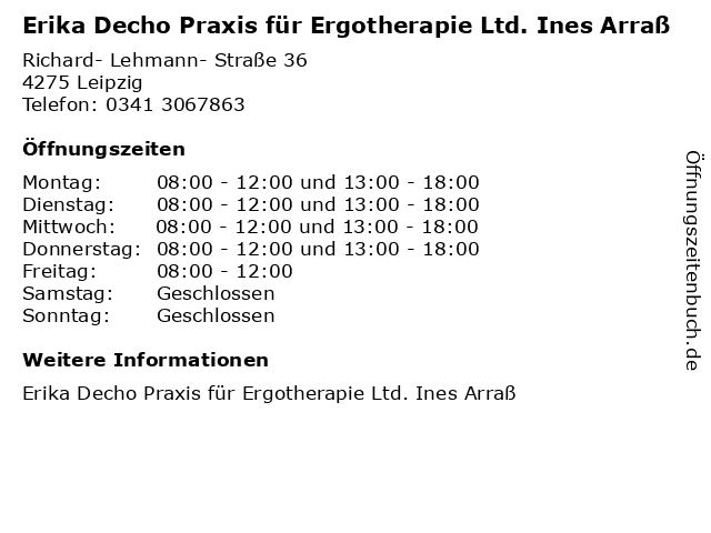 Erika Decho Praxis für Ergotherapie Ltd. Ines Arraß in Leipzig: Adresse und Öffnungszeiten