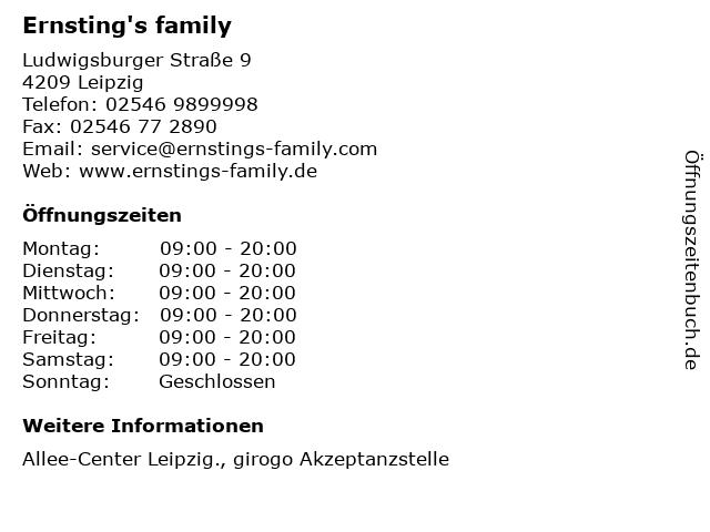 Ernsting's family in Leipzig: Adresse und Öffnungszeiten