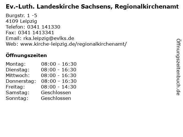 Ev.-Luth. Landeskirche Sachsens, Regionalkirchenamt in Leipzig: Adresse und Öffnungszeiten