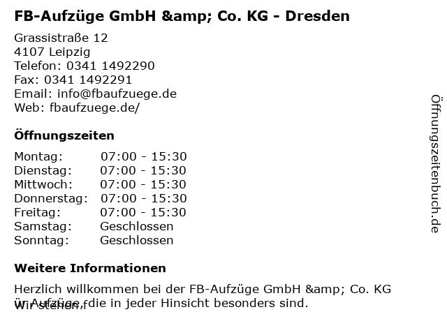 FB-Aufzüge GmbH & Co. KG - Dresden in Leipzig: Adresse und Öffnungszeiten