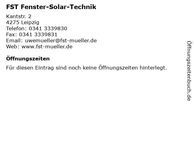 FST Fenster-Solar-Technik in Leipzig: Adresse und Öffnungszeiten